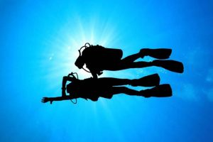 PADI Navigation dive student and instructor