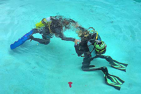 diver and instructor doing a refresher on skills