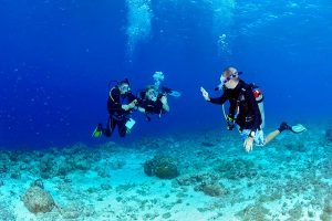 two students and an instructor taking a dive course