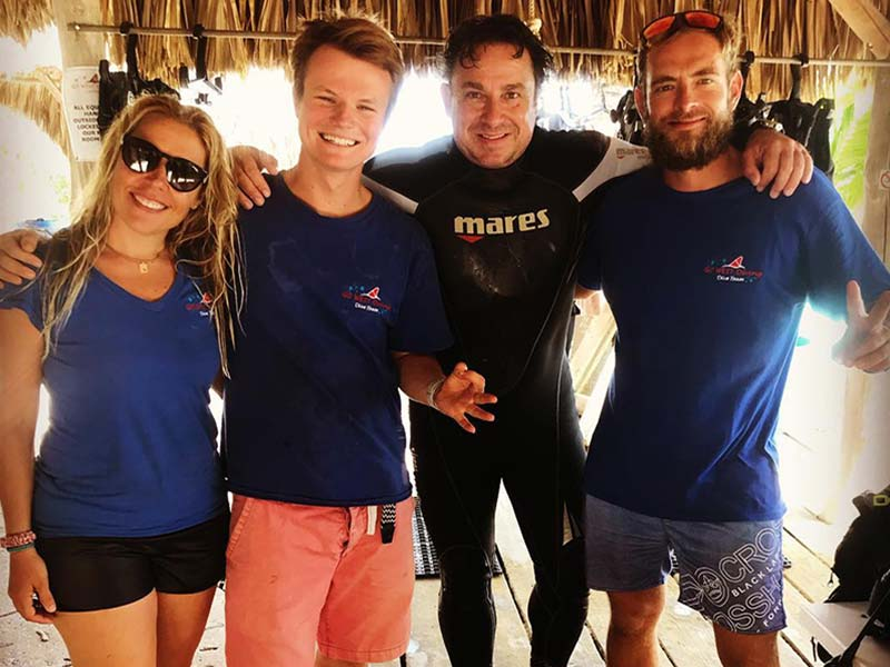 Go West Dive Staff and guest